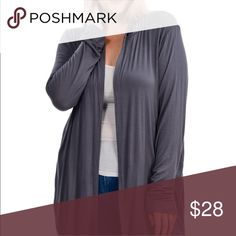 Grey open cardigan Open gray cardigan, perfect layering piece Bellino Clothing Sweaters Cardigans