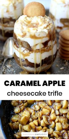 This No-bake Caramel Apple Cheesecake Trifle recipe is the best dessert! Its easy to assemble and the layers of salted caramel cookie crumbles sweet cinnamon apples and creamy cheesecake are rich and delicious. Cheesecake Trifle, Caramel Apple Cheesecake, Trifle Desserts, Trifle Recipe, Easy Desserts, Cheesecake Strawberries, Baking Desserts, Delicious Desserts, Salted Caramel Cookies