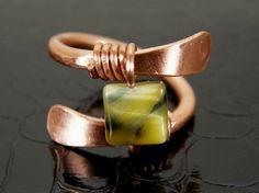 Hammered Copper Wire Ring with Natural Cats Eye by BonzerBeads, $20.00
