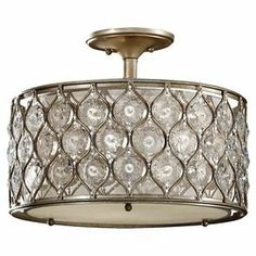 Semi-flush mount with a steel lattice overlay and crystalline accents.     Product: Semi-flush mount    Construction Material: Steel     Color: Silver and beige   Features:  UL listed for dry location    Will enhance any dcor  Accommodates: (1) 60 Watt medium base bulbs - not included   Dimensions: 12.5 H x 16 Diameter