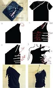 DIY Clothes Refashion: DIY No Sew, One Shoulder Shirt. diy clothes diy fashion diy refashion diy ideas diy crafts do it yourself Diy Clothes Refashion, Diy Clothing, Shirt Refashion, Refashion Shoes, Diy Clothes Hacks, Refashioned Clothes, Clothing Styles, One Shoulder Shirt, Shoulder Cut