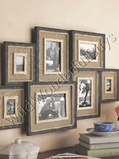 Shabby Country Chic Wood Burlap Layered Photo Collage Picture Frame Wall Decor | eBay