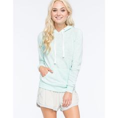 Full Tilt Essential Marled Womens Pullover Hoodie featuring polyvore, fashion, clothing, tops, hoodies, mint, lightweight hoodies, lightweight hoodie, mint pullover hoodie, long hoodie and white pullover hoodie