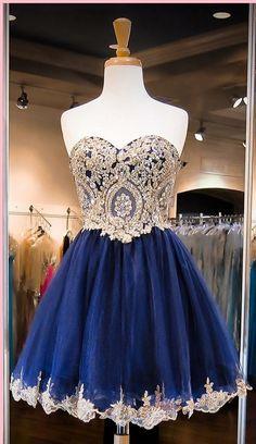 Cute Royal Blue Homecoming Dresses, Short Prom Dresses, Lace Organza Homecoming