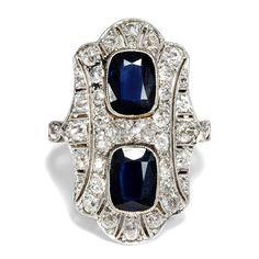 Art Déco um 1925: Gold & Platin RING mit Saphiren & Diamanten, Sapphire Diamond