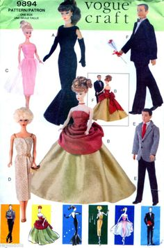 Vogue 9894 Barbie and Ken Doll Clothes Pattern Evening Wear UNCUT 1998
