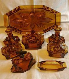 Stolzle Czech trinket set Pressed Glass, Decorative Boxes, Age, Beautiful