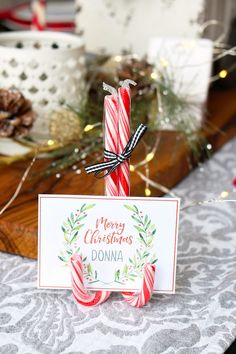 Free printable Christmas place cards and cute DIY candy cane place card stand. Click through for 25 more beautiful free Christmas printables. #christmastablescape #christmasdecor #christmasdecorating #freeprintables #christmasprintables #holidayentertaining Christmas Place Cards, Christmas Names, Diy Christmas Gifts, Christmas Projects, Christmas Crafts, Christmas Place Setting, Diy Christmas Name Tags, Christmas Nativity, Christmas Holiday
