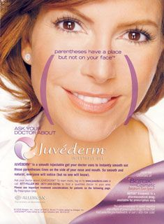 "Juvederm is great for NLF lines, often called the ""parentheses"" that show up as you age. Hass Plastic Surgery MediSpa can help delete your ""parentheses""!"