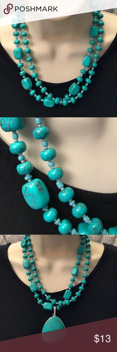 Turquoise Beaded Necklace with Pendant Only worn a few times! In great shape! Let me know if you have any questions! The Necklace is this price but the Pendant just comes along with it for free. Premier Designs Jewelry Necklaces