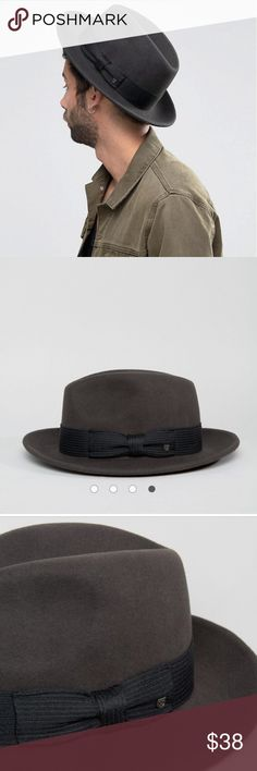 777773664b7a9 BRIXTON WOOL NELSON FEDORA IN CHARCOAL -new with tags -charcoal grey fedora  -size