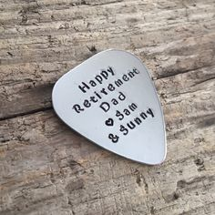 Retirement Gift For Dad Retirement Gift For Him Personalized Guitar Pick Happy Retirement Dad Your Custom Words Hand Stamped Plectrum