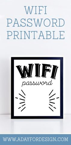 Free Wifi Password Printable Poster | This free printable wifi password poster gives you a beautiful way to display your wifi password for all the guests in your home.