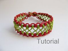 Instant Download PATTERN Red and Green Lacy Macrame Bracelet Pattern - Macrame Bracelet Tutorial - Macrame Bracelet pdf