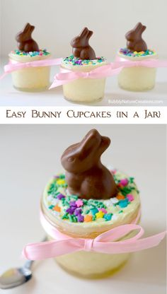 Easy Bunny Cupcakes in a Jar!  Such a cute Easter treat!