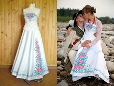 Poland: handpainted weddng dress from the region of Podhale Wedding Bride, Wedding Gowns, Wedding Stuff, Polish Wedding, Embroidered Clothes, My Heritage, Folk Costume, Mother And Father, New Trends