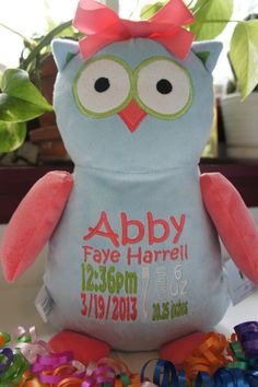 "Personalized Baby Gift, ""Baby Cubby"" Hooty Lou the Owl, a plush stuffed animal keepsake with machine embroidered birth information on Etsy, $30.00"