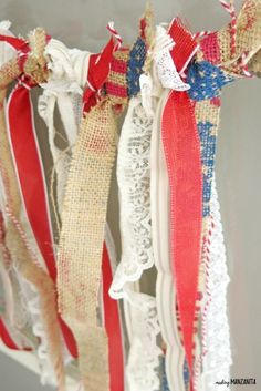 s 30 adorable diy ideas for july Create a ribbon flag Patriotic Wreath, 4th Of July Wreath, Pom Pom Decorations, Backyard Decorations, Holiday Decorations, Metal American Flag, Mesh Wreath Tutorial, Mother Daughter Projects, Diy Confetti