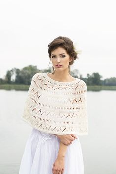 Ivory bridal cape hand knitted from Merino wool yarns, can be luxury wedding accessory.  Item is made from soft wool yarns. .  This oh stylish shrug
