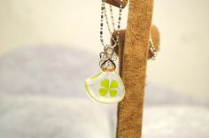 1pcs Resin  Pendant with Natural Clover by xiaobaoplace on Etsy, $6.50