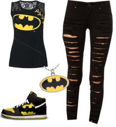 I really like this outfit except the holey jeans. I normally don't wear necklaces but batman is worth getting weird looks for.