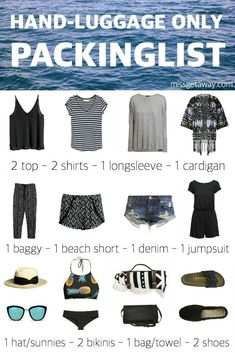 How to travel with hand luggage only. THE ULTIMATE PACKINGLIST FOR SUMMER HOLIDAYS! #summercruisesuitcases