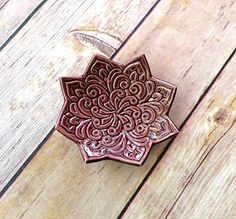 Plum Star Ring Dish  Rich Merlot Jewelry Holder stamped with Boho floral pattern Handmade boho dish  jewelry dish  Trinket Dish >>> For more information, visit image link.