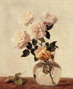 Henri Fantin-Latour Roses - Handmade Oil Painting Reproduction on Canvas Henri Fantin Latour, Art Floral, Still Life Flowers, Still Life Art, Oil Painting Reproductions, Art Paintings, Flower Paintings, Oeuvre D'art, Flower Art