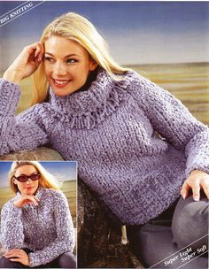 "womens super chunky sweaters knitting pattern pdf ladies polo neck jumper crew neck 26-40"" super chunky super bulky 16ply instant download by Hobohooks on Etsy"