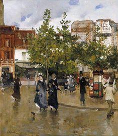 mimbeau:    Elegantes place de Clichy 1875  Norbert Goeneutte est un artiste peintre et graveur français, né à Paris le 23 juillet 1854 et mort le 9 octobre 1894 à Auvers-sur-Oise, à l'âge de 40 ans