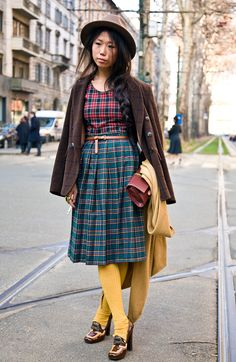 plaid + plaid + love her shoes...in milan