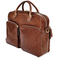Libero Ferrero Espresso Horween Leather Pocketed Portage Briefcase