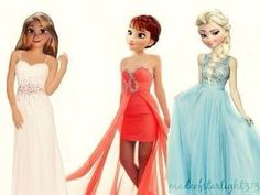 Anna, Elsa, & Rapunzel's prom dresses!!