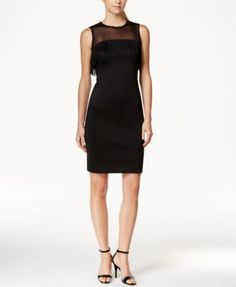 86232eca Calvin Klein Illusion Mesh Fringe Sheath Dress & Reviews - Dresses - Women  - Macy's