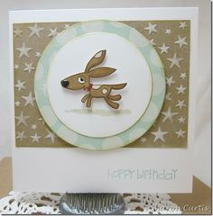 Birthday card using Paper Smooches Woofers and Tweeters stamp set, and Sentiment Sampler Set. Background is star embossing folder from X-Cut.