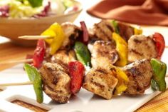 Grilled Chicken Kabobs-This is a low calorie, low fat, low carbohydrate, low sugar WeightWatchers (4 ) PointsPlus+ and also a Diabetic (1/2) carb Choice recipe. Makes 4 Servings.