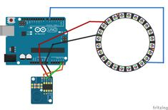 Example wiring diagram for controlling a WS2812B LED strip