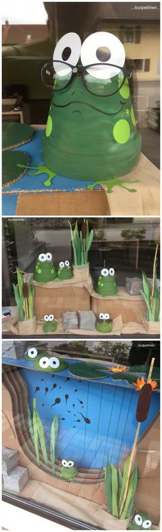 . Frog Crafts, Clay Pot Crafts, Garden Crafts, Easy Crafts, Diy And Crafts, Frog Theme, Decoration Vitrine, Store Displays, Terracotta Pots