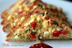 Ruchik Randhap (Delicious Cooking): Chilli Cheese Toast with a Twist! ~ When the Hubby Cooks!
