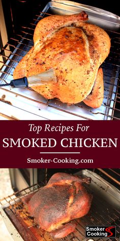 This collection of smoked chicken recipes includes ideas for smoking chicken breasts thighs legs and whole chickens Try the bacon wrapped thighs smokedchicken smokerrecipes smokercooking Smoked Chicken Recipes, Smoked Whole Chicken, Smoked Chicken Wings, Cooking Whole Chicken, How To Smoke Chicken, Smoked Chicken Electric Smoker, Chicken Smoker Recipes, Smoked Chicken Brine, Smoker Cooking