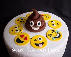 Emoji toppers 9pcs poops topper comestible fondant gâteau