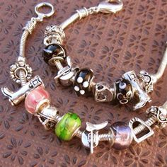 Pandora Style English Riding / Horse Charm Bracelet with Glass Beads • $35.99 • Always Free Shipping at www.WyoStyle.com • http://www.wyostyle.com/English_Riding_Horse_Charm_Bracelet_p/wsjb116beads.htm