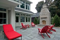 Stamped concrete with outdoor fireplace
