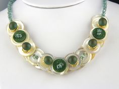 Layered Button Necklace Emerald Green.   www.trinketsnwhatnots.etsy.com