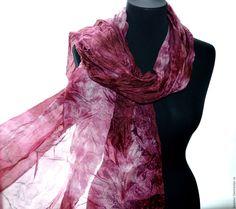 Buy scarf pink maroon natural silk Shibori silk hand painting - gold, vintage