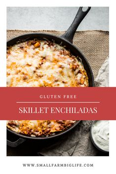 These easy gluten free skillet enchiladas are made with ground beef and lots of cheese. I prefer to use my cast iron skillet, but any casserole pan will work. This recipe has the best homemade enchilada sauce! Skillet Enchiladas, Gluten Free Enchiladas, Casserole Dishes, Casserole Pan, Mexican Casserole, Casserole Recipes, Homemade Enchilada Sauce, Homemade Enchiladas, Sin Gluten