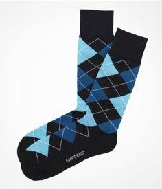 Turquoise and black dress socks