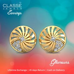 Stunning Earrings! Buy online @ Classe Jewels  45 Days Return Policy | 0% Making charges | COD Gold Diamond Earrings, Hibiscus, Jewels, Collection, Jewerly, Gemstones, Fine Jewelry, Gem, Jewelery