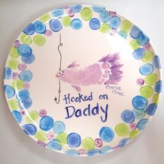 Hooked on daddy fish foot print.  Great Father's Day gift idea!