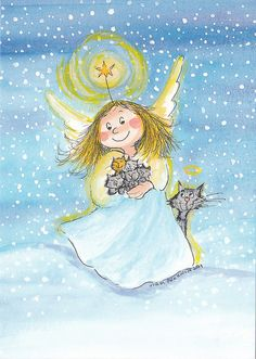 Postcrossing postcard from Finland Christmas Illustration, Cute Illustration, Animated Clipart, Angel Art, Christmas Cats, Whimsical Art, Christmas Pictures, Stone Painting, Beautiful Artwork